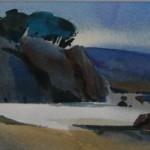 Misty Sea -watercolor -7x21