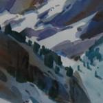 Soaring Granite -watercolor -21x7