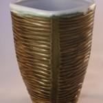 Squared Celadon Carved Vase -ceramic