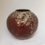 Red Leopard vase - wood fired ceramic