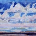 Earth & Heaven, 2 -Watermedia/clay -16x16