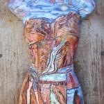 Timeless Wisdom -Watercolor, clay, steel -48x20