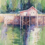 Boathouse -20x22 -watercolor collage