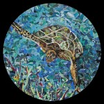 "Sea Turtle- Collage- 36"" Round"