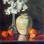 Still Life with Green Vase -oil -14 x 11