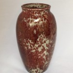 Tall Red Leopard Vase - wood fired ceramic