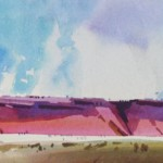 Red Mesa Country -Watercolor -7x21